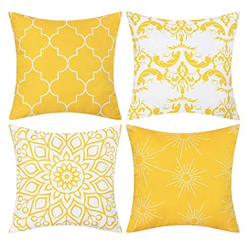 BLEUM CADE Set of 4 Throw Pillow Covers Modern Decorative Throw Pillow Case Morocco Pattern Pillow Covers Cushion Case for Room Bedroom Room Sofa Chair Car, Yellow, 20 x 20 Inch