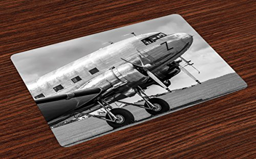 Ambesonne Vintage Airplane Place Mats Set of 4, Old Airliner Cockpit Antique Engine Propellers Wings and Nostalgia Image, Washable Fabric Placemats for Dining Table, Standard Size, Black Grey