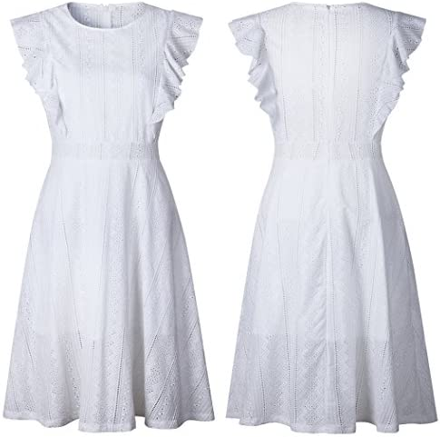 ECOWISH Womens Dresses Elegant Ruffles Cap Sleeves Summer A-Line Midi Dress 6
