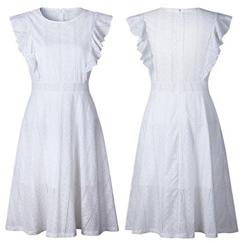 ECOWISH Womens Dresses Elegant Ruffles Cap Sleeves Summer A-Line Midi Dress White XL