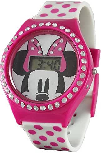 Disney Minnie Mouse Girl's Pink Digital Watch with Rhinestones MN1252