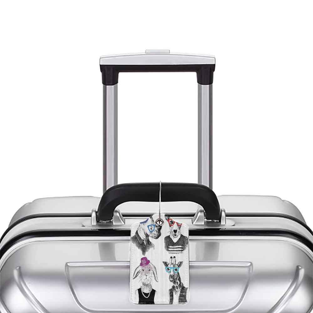 Decorative luggage tag Animal Modern Woman Bodied Rabbit with Pearls Dog Giraffe Bison with Grunge Graphic Suitable for travel Black Grey White W2.7 x L4.6