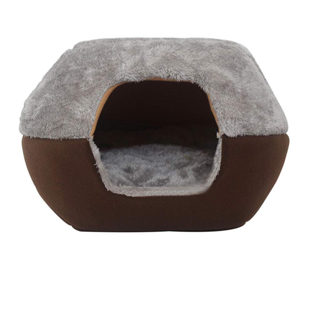 Brown M(44x40x32cm) Brown M(44x40x32cm) MOCHENG Luxury Pet Home,Sleep Zone Cuddle Cave Pet Bed for Cat Dogs House(M(44x40x32cm),Brown)