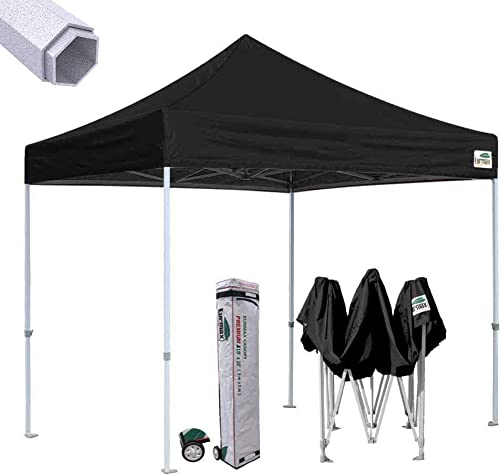 Eurmax Premium 10 x10 Ez Pop-up Canopy Tent Commercial Instant Canopies Shelter with Heavy Duty Wheeled Carry Bag Black