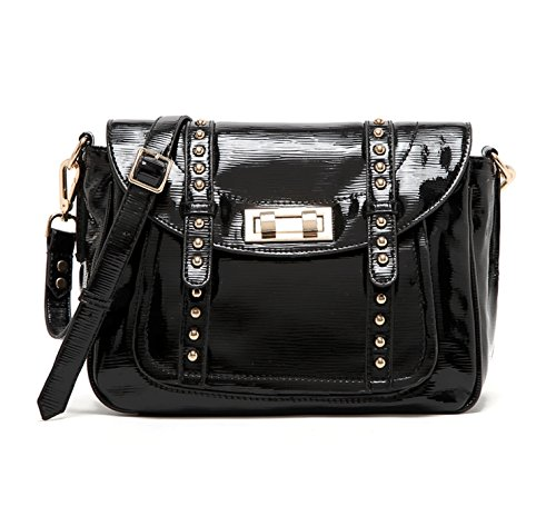 Caixia Women's Patent Leather Studded Flap Messenger Shoulder Bag Black