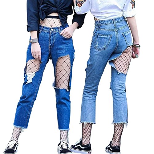 DancMolly Fishnet Stockings Pantyhose Women's 2 Pair High Waist Hollow Mesh Tights Legging Hosiery (Black/Large+Medium Hole,2 Pair, One size) -