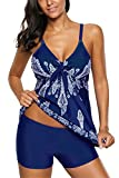 American Trends Women's Floral Printed Retro Swimsuit V Neck Tummy Control Tank Top Tankini Bathing Suit With Athletic Boyshorts Navy Blue XL (US Size 10-12)