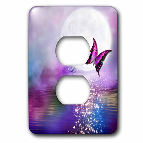 Lake Outlet (3dRose (lsp_263244_6) 2 Plug Outlet Cover - Purple Lake in the Moonlight with Butterfly)