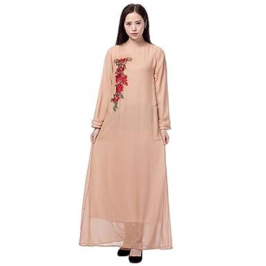 67b0bc2279ee Hougood Robe Longue Femme Ete Musulmane Islamique Abaya Robe Manches Longues  Mousseline Dubai Kaftan Robes Fleurs Broderie Robe Cocktail Mariage Robe  Maxi ...
