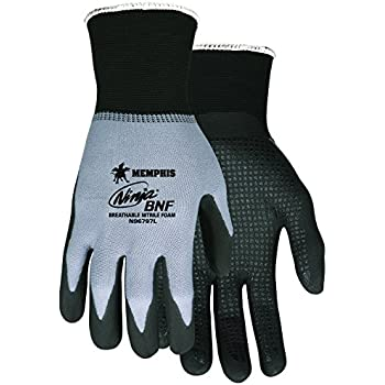 MCR Safety N96797XXL Ninja BNF Nitrile Gloves, ANSI Puncture 2, Abrasion 4, 15 Gauge Nylon/Spandex Shell with BNF Palm and Fingertip Coating and Nitrile Grip Dots, 1-Pair, XX-Large