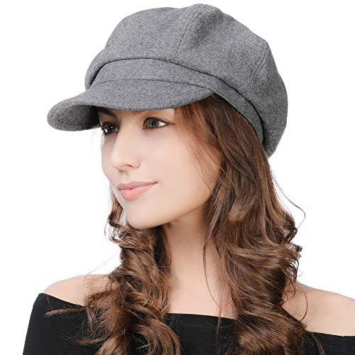 Womens Wool Blend Visor Beret Newsboy Cap Winter Merino Hat for Ladies Gray