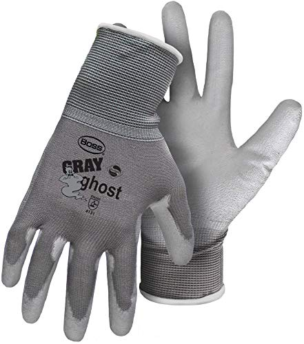 12 Pack Boss 3000 Gray Ghost Nylon PU Coated Palm Gloves - Large