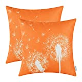 Pack of 2 CaliTime Throw Pillow Covers 18 X 18 Inches, Dandelion Print, Orange
