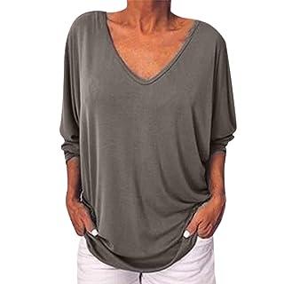 Siswong Maglietta Donna Elegante Manica a Pipistrello Scollo A V T-Shirt Donna Casuale Bluse e Camicie Donna Eleganti Camicetta Moda Tumblr Ragazza Magliette Donna Estive Tops Ampio
