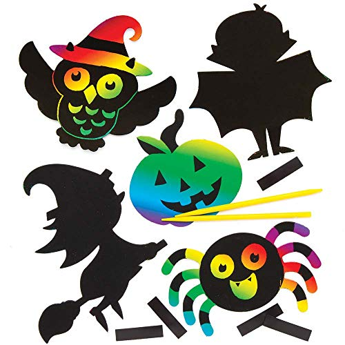 Baker Ross Halloween Scratch Art Magnets (Pack of