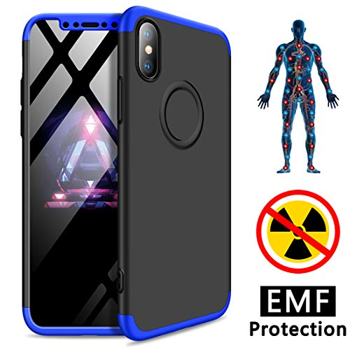 - YUEKAI iPhone Xs Case, iPhone X Case, Ultra Slim Anti-Radiation/EMF Protection and Negative Ion Energy Lightweight Hard Case Cover Bumper Compatible with Apple iPhone Xs/X (Black/Blue)