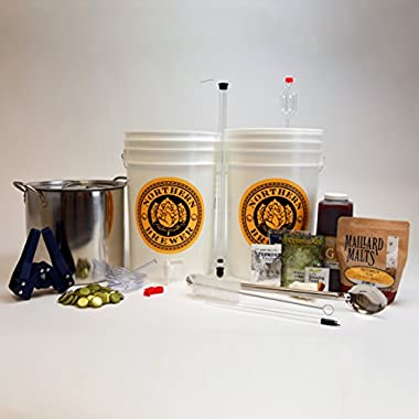 Brew. Share. Enjoy. Homebrew Beer Brewing Starter Kit with Block Party Amber Ale