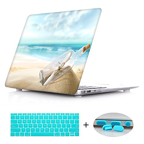 Rubberized Hard Shell Laptop Case + Keyboard Cover + Dust plug For Macbook Pro 13 wtih Retina (Models:A1425/A1502) - Ocean Current Bottle ()