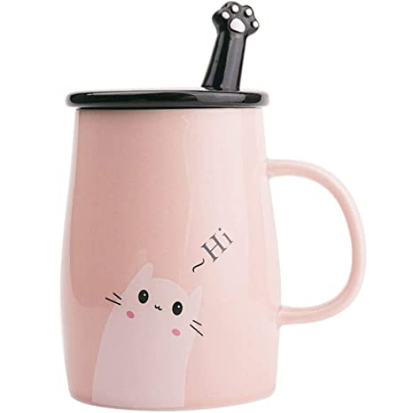 Taza Linda del Gato Taza de café de cerámica con Cuchara de Acero Inoxidable para Gatitos