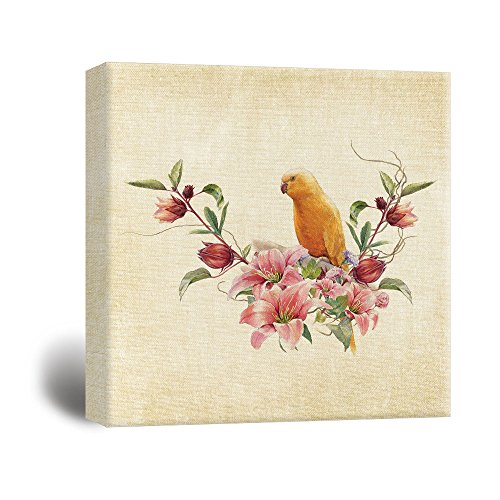 Square Antique Style Painting with a Yellow Parrot and Flowers …