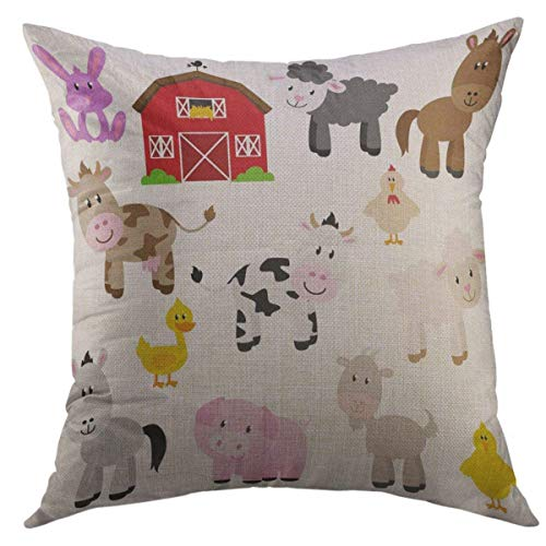 Mugod Decorative Throw Pillow Cover for Couch Sofa,Red Baby Collection of Cute Cartoon Farm Animals Barn Barnyard Home Decor Pillow Case 18x18 Inch