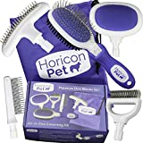 Horicon Pet Premium Dog Brush Set Interchangeable Dog Grooming Brushes - Dematting Undercoat Comb, Slicker Brush, Deshedding Edge Comb, Spring Comb, Ball Pin Brush, Bristle Brush
