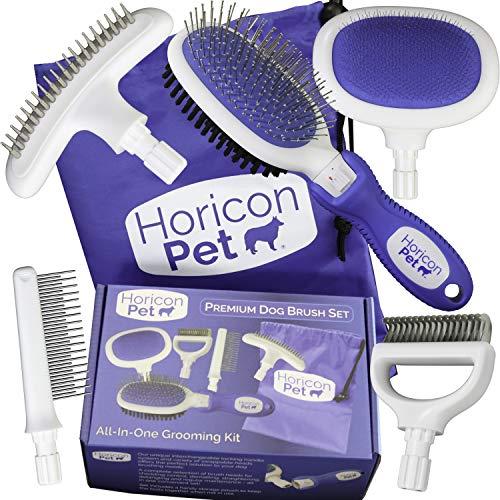 Horicon Pet Premium Dog Brush Set Interchangeable Dog Grooming Brushes - Dematting Undercoat Comb, Slicker Brush, Deshedding Edge Comb, Spring Comb, Ball Pin Brush, Bristle Brush by Horicon Pet