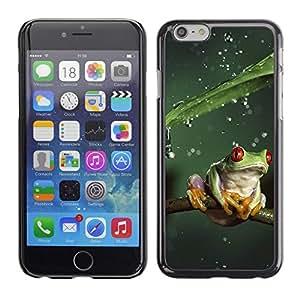 TopCaseStore / la caja del caucho duro de la cubierta de protección de la piel - Cool Jungle Frog & Rain - Apple iPhone 6