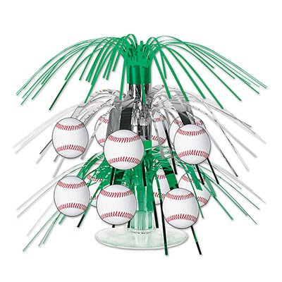 Beistle Baseball Cascade Centerpiece, 71/2-Inch, Green/Silver/White/Red (2-Pack) -