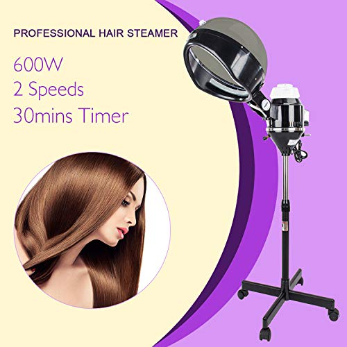 Mefeir Professional Salon Hair Steamer Stand Up with Hood,Rolling Floor Iron Base,Adjustable Timer,2 Speeds,Portable Color Processor for Natural Curly Hair Treatment Barber Spa Equipment