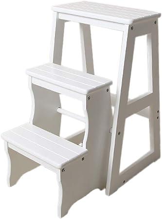 Taburete plegable de 3 peldaños Taburete portátil de madera maciza con escalones Escalera plegable interior para adultos, Escalera de madera para plantas de jardín, Capacidad de carga 150kg ZDDAB: Amazon.es: Hogar