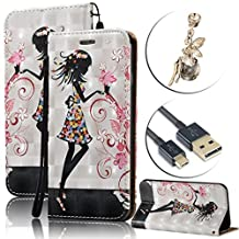Samsung Galaxy Grand Prime G530 Case Waterproof,Vandot Luxury PU Leather Flip Stand Cover Colorful Printing 3D Relief Magnetic Shockproof Protective Case+Bling Anti Dust Plug+USB Cable-Girl