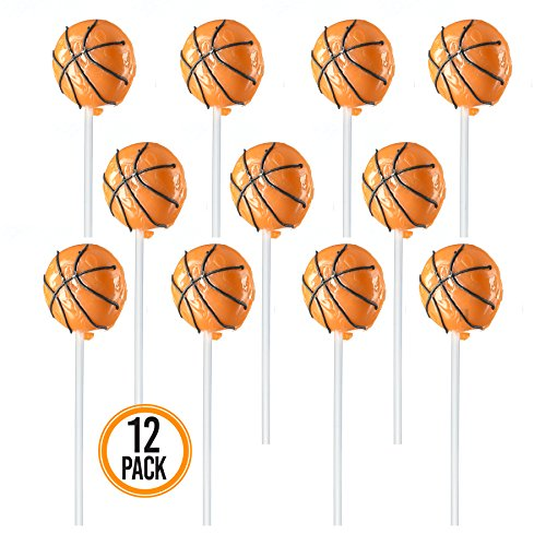 (Prextex Basketball Lollipops - Kids Sports Ball Suckers for Birthday, Sports Event or Basketball Party Favor - Pack of 12 (1)