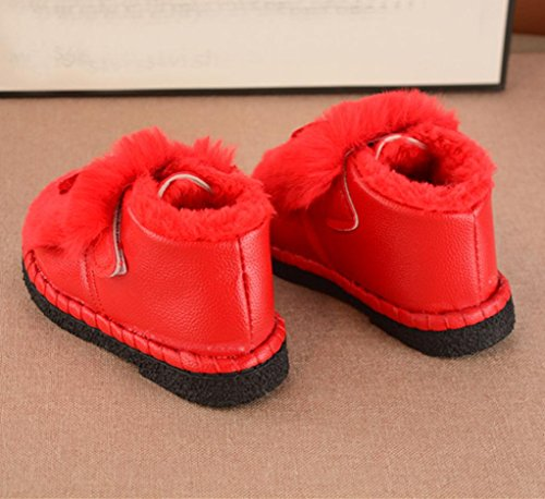 Huhu833 Kinder Mode Jungen Mädchen Stiefel Herbst Winter Warme Mode Kinder Martin Mädchen Jungen Casual Schneeschuhe Rot