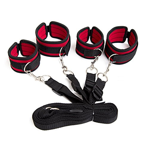 Under the bed Restraint system - wrist and ankle cuff velcro adjustable soft and comfortable cuffs for leg, ankles and wrist, with eye mask blindfold by feifanmall (Image #2)