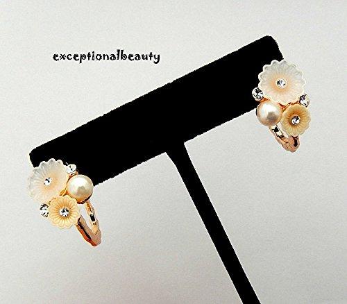 Cabochon Cluster Ring - Rose Gold Pink Peach Flower Cluster Pearl Crystal Rhinestones Hoop Earrings