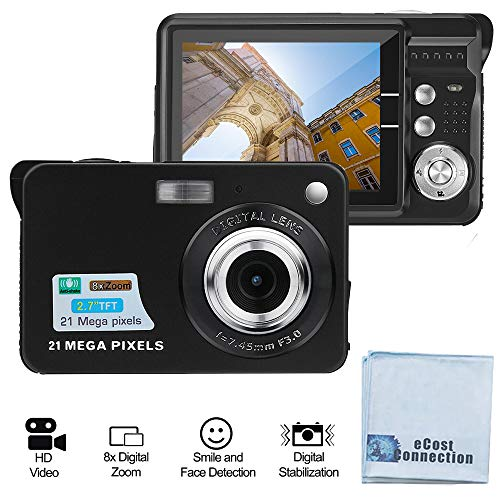 Acuvar 21MP Megapixel Digital Camera with 2.7″ LCD Screen, Rechargeable Battery, HD Photo and Video for Indoor, Outdoor Photography for Adults, Kids