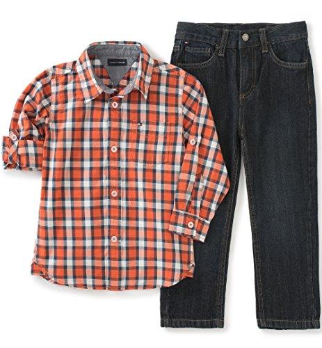 tommy-hilfiger-baby-boys-roll-up-sleeve-plaid-shirt-with-denim-pant-set-orange-3-6-months