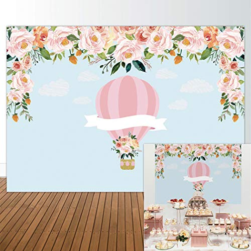 Allenjoy 7x5ft Hot Air Balloon Backdrop Up Up & Away Background Pink Baby Shower Its a Girl Newborn Floral Birthday Party Supply Dessert Candy Cake Table Decor Decoration Banner Photo Shoot Booth
