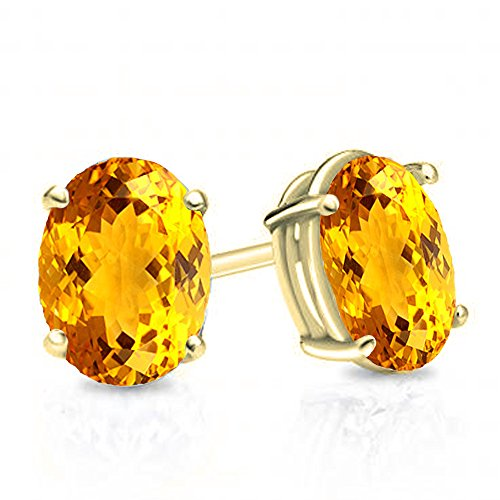 14K Yellow Gold 6x4 mm Oval Cut Citrine Ladies Solitaire Stud Earrings 1 CT - Citrine Clip
