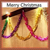 Sunyou 6Pcs 2M 6.5Ft Christmas Tinsel Garland? Classic Thick Colorful Reflections Shiny Sparkly Soft Party Hanging Tinsel Ornaments Ceiling Christmas Tree Decorations?6 Colors
