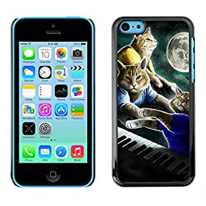For Apple iPhone 5C Case , Cats Art Painting Piano Moon - Diseño Patrón Teléfono Caso Cubierta Case Bumper Duro Protección Case Cover Funda