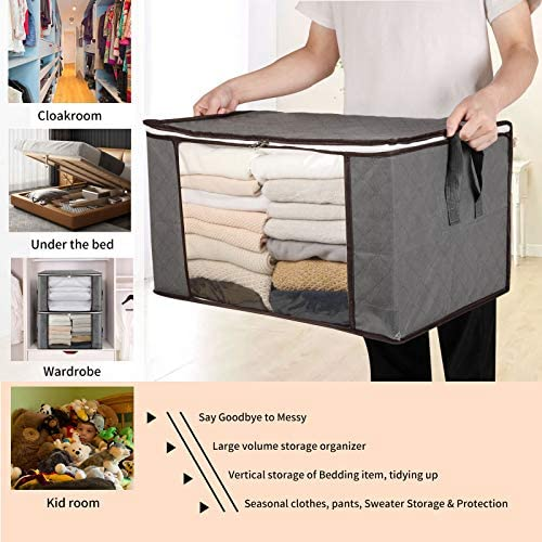 Clothes and Blanket Storage Bag Organizer 90L Large Capacity with Reinforced Handles and Thick Non-Woven Fabric for Comforters, Blankets, Bedding Foldable Breathable Closet Storage Bags-6Pack