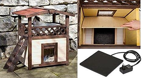 Casa para gatos para exterior, aislada y resistente a la intemperie ,climatizada con placa térmica extraíble.: Amazon.es: Productos para mascotas