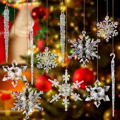 VGOODALL Christmas Snowflake Decorations, 56 PCS Icicles Ornaments Set Clear Snowflake Acrylic Christmas Ornaments for Christmas Tree Santa Outdoor Party Decoration Craft Projects