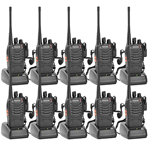 Nestling 10 Pack 888s Long Range Walkie Talkie USB Rechargeable 16CH Walky Talky Radio with Earpieces and LED Light Voice Prompt for Field Survival Biking and Hiking