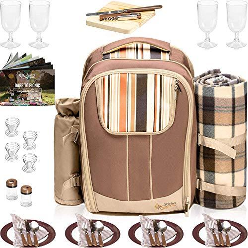 Kitchen Supreme Picnic Backpack Set for 4 | Wine Insulated Cooler Basket Bag with Complete Tableware Set, Waterproof Fleece Blanket & Detachable Wine Holder