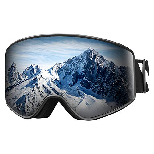 VELAZZIO OTG Ski Goggles, Snowboard Goggles - Double Layer Interchangeable Lens, UV Protection, Anti-Fog, Snow Goggles for Men & Women (Black Frame/Grey Lens with Dark Silver Coating (VLT 10%))