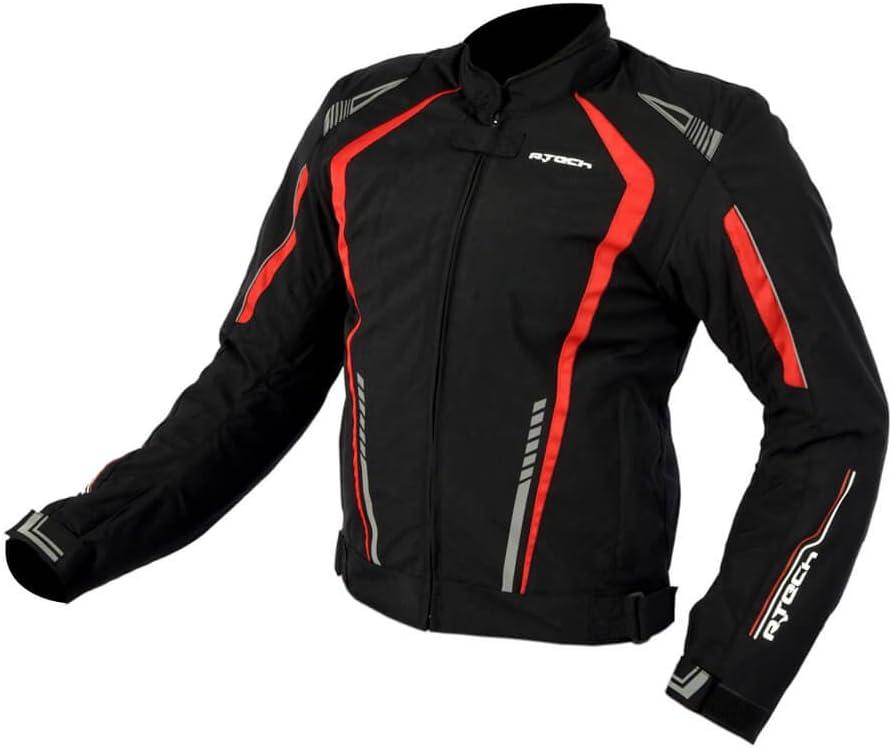 R-TECH Chaqueta de moto textil Marshal Chaqueta de motociclista para hombre Negro//Rojo, XXS