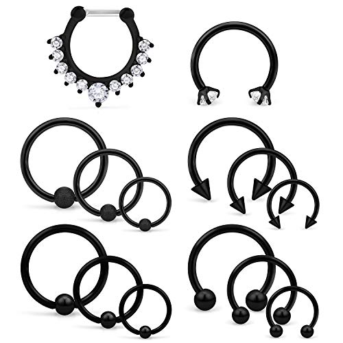 Ocptiy 14PCS 16G Nose Septum Horseshoe Rings Stainless Steel Circular Barbells Cartilage Tragus Helix Eyebrow Lip Labret Ear Piercings Body Jewelry 8mm 10mm 12mm